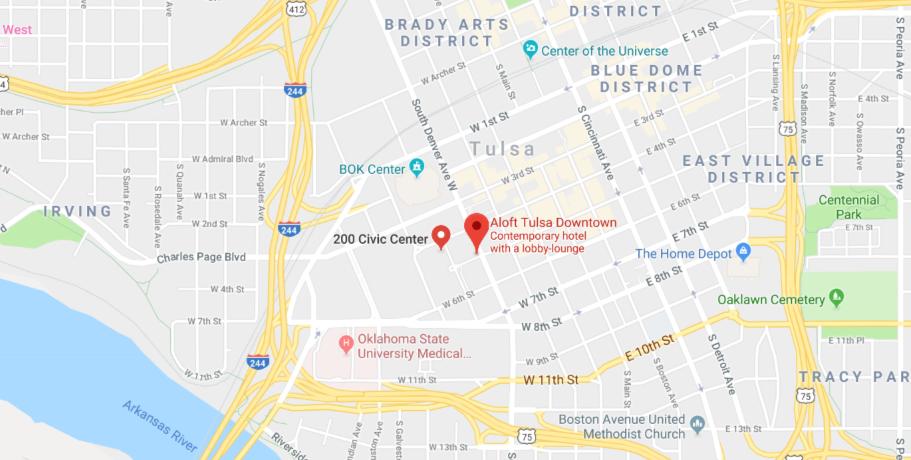 Map of downtown Tulsa, Ok.